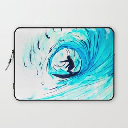 Lone Surfer Tubing the Big Blue Wave Laptop Sleeve