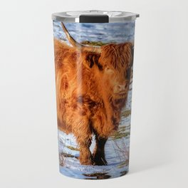 Hamish the Scottish Highland Bull in Winter Snow Travel Mug