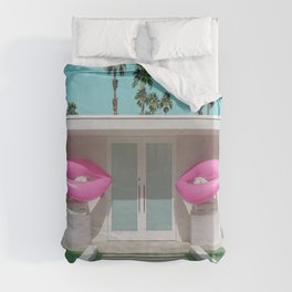 Modern Palm Springs Home with Pink Lip Floaties at the Door Duvet Cover