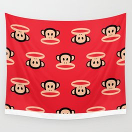 Julius Monkey Pattern by Paul Frank - Red Wall Tapestry