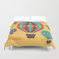 hot air balloons Duvet Covers featuring Hot Air Balloons by Marina Design
