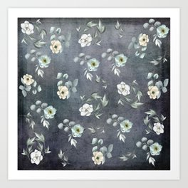 White Flowers and Grey Leaves Art Print