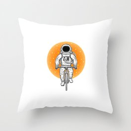 Astronaut Driving With A Bicycle Space Travel For Astronauts Throw Pillow
