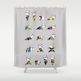 Yoga Bear - 80's Remix Shower Curtain