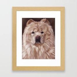 Cream Chow Chow Painting Portrait Framed Art Print