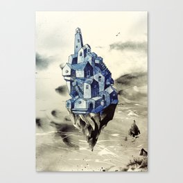 Blue town between the sky and the sea Canvas Print