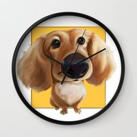 dachshund Wall Clocks featuring dachshund by joearc