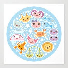 Funny Kawaii zodiac sign Canvas Print