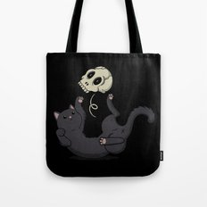 Skull Black Cat Tote Bag