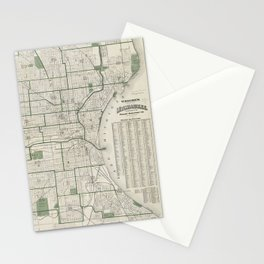 Vintage Map of Milwaukee Wisconsin (1909) Stationery Cards