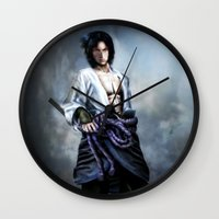 sasuke Wall Clocks featuring Sasuke real style portrait by Shibuz4