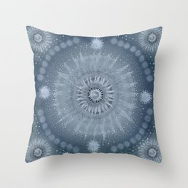 """Indigo blue & Cinder Vault Mandala(Silver stars)"" Throw Pillow"