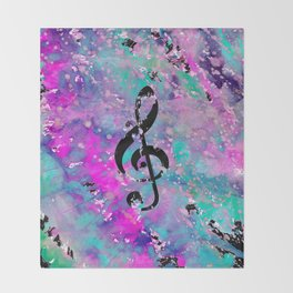 Artistic neon pink teal black watercolor classical music note Throw Blanket