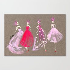 Showroom Girls Gouache Fashion Illustration Canvas Print
