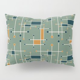 Intersecting Lines in Olive, Blue-green and Orange Pillow Sham