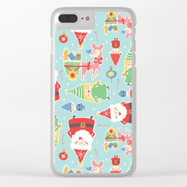 Santa Gnome Pattern Clear iPhone Case