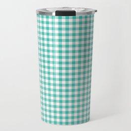 Modern green white checker picnic stripes pattern Travel Mug