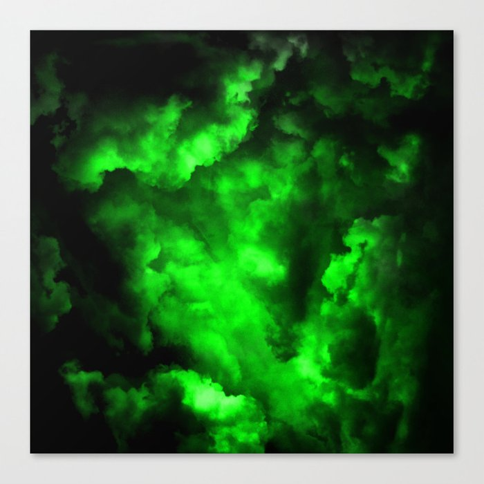 Envy Abstract In Black And Neon Green Canvas Print By Printpix