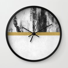 Golden Line / White Wall Clock