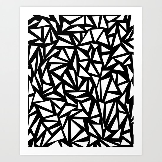 Try Me - memphis modern black and white minimal angular geometric triangle fun 1980s retro  Art Print