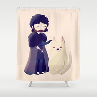 thrones Shower Curtains featuring Night Gathers by Nan Lawson