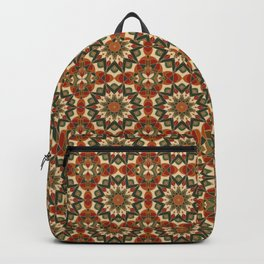 Mandala Kaleidoscope Pattern, Forest, Rust and Red Backpack