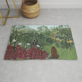 Tropical Forest with Monkey Rug