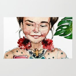 asian girl as frida look with plant on background Rug