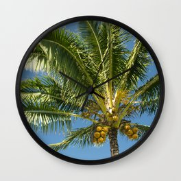 Hawaiian Coconut Palm Tree Wall Clock