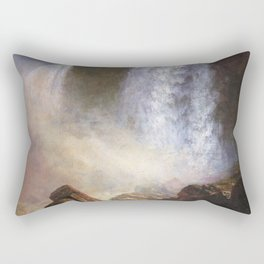 Falls Of Niagara From Below By Albert Bierstadt | Reproduction Painting Rectangular Pillow