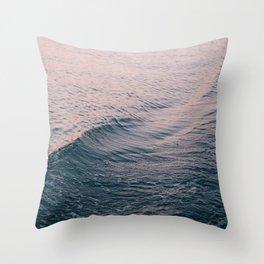 Pink Sunset Waves Throw Pillow