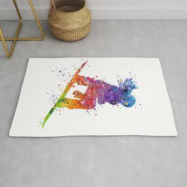 Girl Snowboarding 5 Colorful Watercolor Artwork Winter Sports Gift Rug