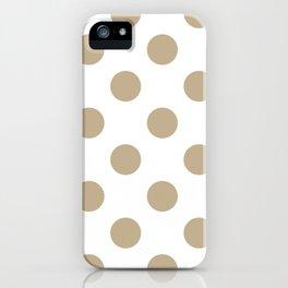 Large Polka Dots - Khaki Brown on White iPhone Case