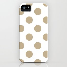 Large Polka Dots - Khaki Brown on White iPhone Case
