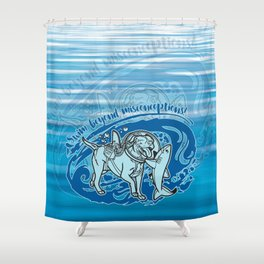 Lexy & Bruce - Swim beyond misconceptions! Shower Curtain