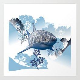 Blue shark coral seaweed wall hanging home deco Art Print