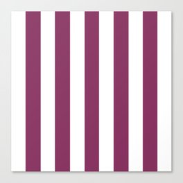 Boysenberry violet - solid color - white vertical lines pattern Canvas Print