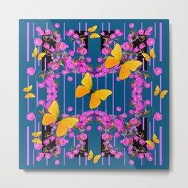 Modern Yellow Butterflies Art  Pink FlowersTeal Garden Metal Print