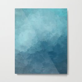 Aqua Blue Turquoise Navy Underwater Sea Deep Ocean Minimal Abstract Nature Painting Art Print Wall Decor  Metal Print