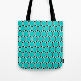 Bright turquoise, white and black hexagonal pattern Tote Bag