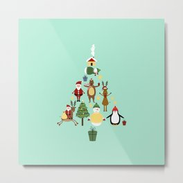 Christmas tree with reindeer, Santa Claus and bear Metal Print
