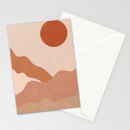 Sunset Mountain Mid Century Modern Art Stationery Cards