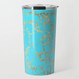 Modern aqua elegant faux gold foil marble pattern Travel Mug