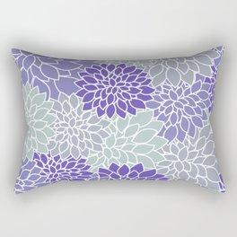 Periwinkle Grayish Blue Dahlias Rectangular Pillow
