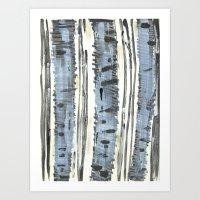 birch Art Prints featuring Birch by Sand Salt Moon
