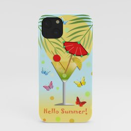Hello Summer, vector illustration with text iPhone Case