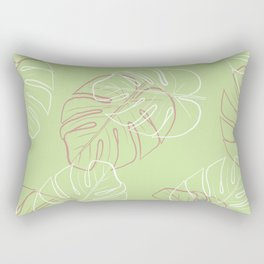 White and pink leaves in green blackground Rectangular Pillow