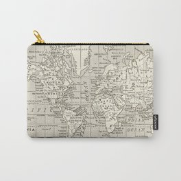 Taupe Wol Map Carry-All Pouch