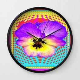 Purple Pansy Yellow-lilac Optical Art Design Wall Clock