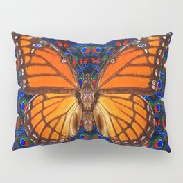 ORANGE BUTTERFLIES  & DARK BLUE ART PATTERN Pillow Sham